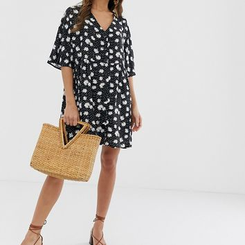 ASOS DESIGN v neck button through mini smock dress in daisy polka dot | ASOS