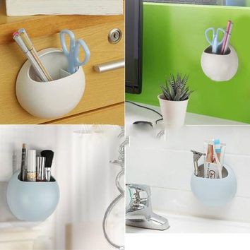 2017 Real New Dispenser Bathroom Products Wall Suction Cups Toothbrush Toothpaste Holder Kitchen Bathroom Stuff Organizer K3085