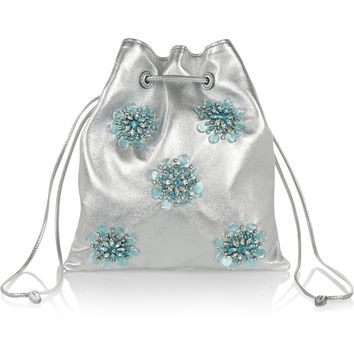 Miu Miu | Embellished metallic leather bucket bag | NET-A-PORTER.COM