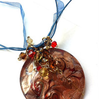 copper swirls dichroic glass pendant necklace with Swarovski crystal clusters in red, gold, blue