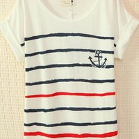 Navy Style Cute Strips T-shirt HGF324 from topsales