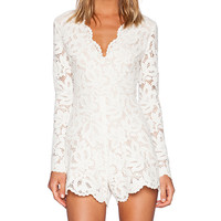 Alexis Manolo Lace Romper in Ivory