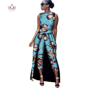 BRW 2017 New Fashion Africa Cotton Print Romper African Bazin Riche Jumpsuit For Women Dashiki Fitness Jumpsuit For Lady WYD8