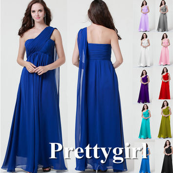 ZJ0207 2014 one shoulder royal blue light purple colored chiffon long party bridesmaid dresses
