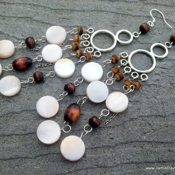 Wood and Shell Chandelier Earrings on Silver Tone Component - White Mother of Pearl Beachy Boho Earrings - White and Brown Earrings