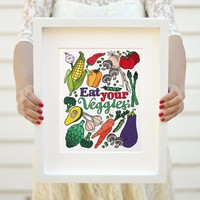 Art print - Eat you Veggies - Kitchen print