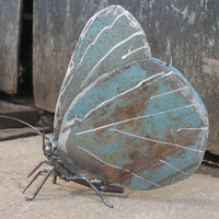 "9"" Holly Blue Butterfly Recycled Welded Scrap Metal Sculpture, Unique Art Work, Reclaimed"