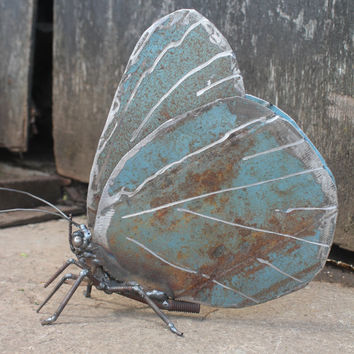 """9"""" Holly Blue Butterfly Recycled Welded Scrap Metal Sculpture, Unique Art Work, Reclaimed"""