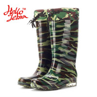 Hellozebra Men Winter Fashion Rain Boots Camouflage Chains Waterproof  Welly Plaid Knee-High Rainboots New Fashion Design