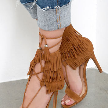 Steve Madden Shay Chestnut Suede Leather Fringe Heels
