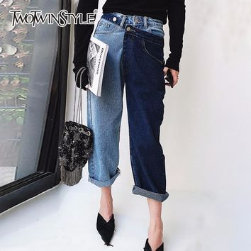 TWOTWINSTYLE Patchwork Jeans For Women High Waist Irregular Large Size Summer Denim Long Trousers Fashion Harajuku Clothing