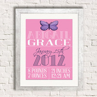 Personalized Butterfly Baby Birth Stats 8x10 Personalized Custom  Newborn Girl Wall Typography Art Print Nursery Gift