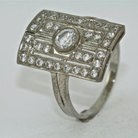 14kt White Gold and Diamond Art Deco Design Engagement Ring with .30ct White Sapphire Center