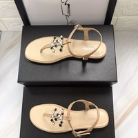 hcxx 2276 19May Pearl Star Double C Button Sandals Khaki