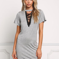Heather Grey Deep V Lace Up Shift Dress