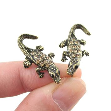 3D Realistic Crocodile Alligator Shaped Stud Earrings in Brass with Rhinestones