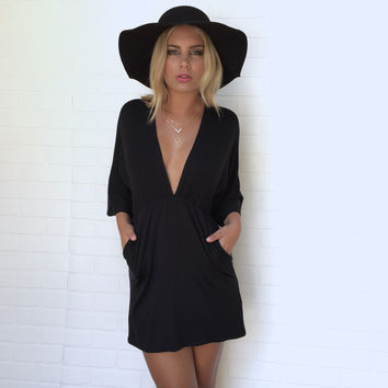 Open Up Jersey Tunic & Dress In Black