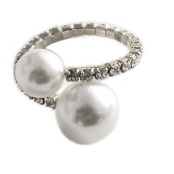 Double Pearl and Pave Halo Adjustable Ring