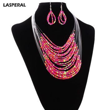 LASPERAL 2017 African Beads Jewelry Set For Women Long Chain Chunky Artificial Coral Beads Wedding Necklace Earring Jewelry Gift