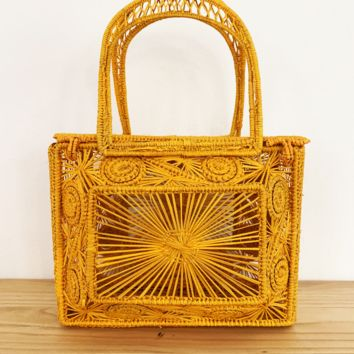 Iraca Palm Mini Basket Bag – Marigold