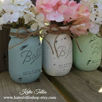 Painted Mason Jars. Vintage looking Home Decor. Distressed Vase. White/Shabby Blue/Mint Green. Wedding Decor. Cenerpiece. Baby Shower. Gift.