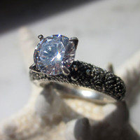 CLEARANCE sterling Swiss white topaz genuine marcasite ring engagement rings wedding bridal rings solitaire rings April birthstone