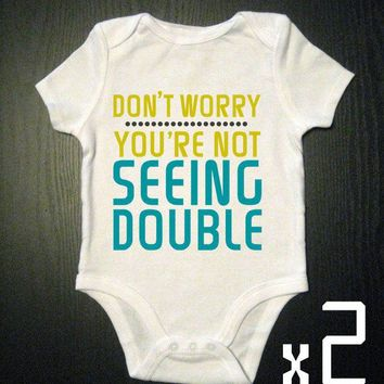 Seeing Double Twins funny Onesuit bodysuit by VicariousClothing