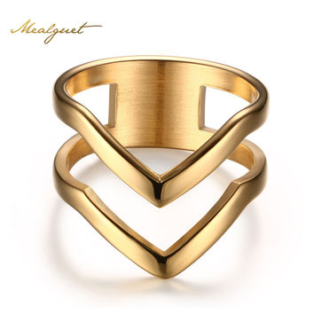 Meaeguet Jewelry Ring for Women Gold Plated Stainless Steel Exquisite Shiny Polished Double Chevron V Shape Knuckle Ring