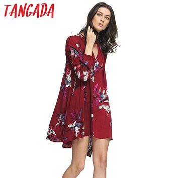 Tangada Women Vintage Pleated Bohemia Dress Beach Short Summer Floral American Fashion Elegant Long Sleeve Loose Vestidos XIC34