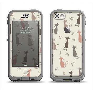 The Vintage Solid Cat Shadows Apple iPhone 5c LifeProof Nuud Case Skin Set