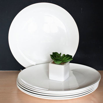 Mid Century Corning Centura White Coupe 10 Inch Dinner Plates (Set of 6)