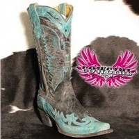 Black/Turquoise Crater Eagle Boot - R2266 - Cowgirl Clad Company