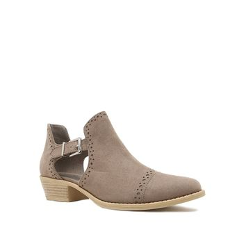 Suede Buckle Bootie - Taupe