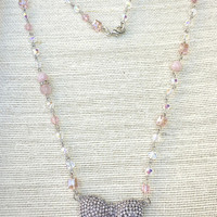 Crystal Pink Rhinestone Necklace -Pink puff Necklace -Handmade Unique Vintage Assemblage Necklace-