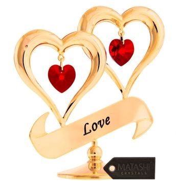 """24K Gold Dipped """"Love"""" Ornament, Two Hearts with Dangling Crystals"""