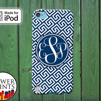 Monogram Cursive Initials Greek Pattern Navy Blue Tumblr Cute for iPod Touch 4th Generation and iPod Touch 5th Generation Gen Plastic Rubber