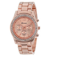 Women Fashion Metal Band Quartz Classic Round Crystals Watch Wristwatches = 5987722433