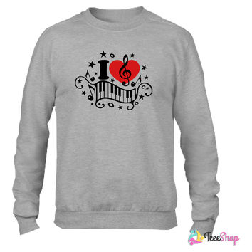 I love music heart note piano clef classic choir Crewneck sweatshirtt