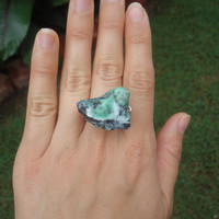 Raw green serpentine stone ring -  size 7 - silver wire wrapped - chunky ring - cocktail ring - handmade ring