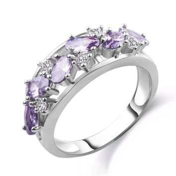 2017 New Gorgeous woman engagement ring purple crystal cz cubic zirconia rose gold fill women luxury wedding jewelry full size