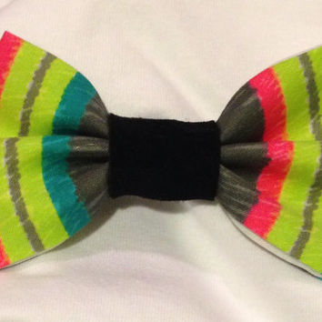 Neon Stripes and Leather Hair Bow, pink and gray bow