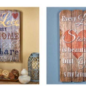 Family Love Story Sentiment Wall Art Rustic Pallet Plank Look Country Wooden