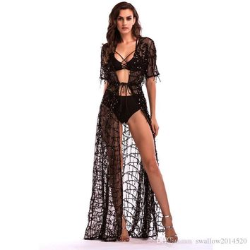 Hot Sexy Bikini Cover-Up Dresses Sequined Tassels Maxi Casual Dresses Deep V-Neck Short Sleeve Kimono Dress Beach Party Prom Dresses