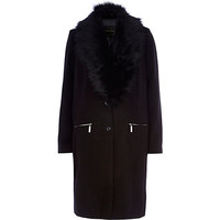 River Island Womens Black detachable faux fur collar coat