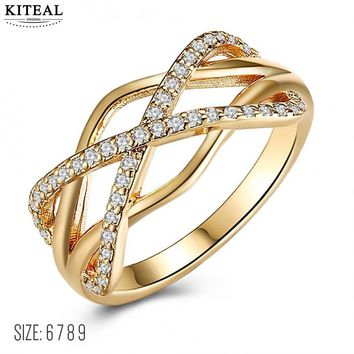KITEAL NEW!! Gold color  White size 6 7 8 9 Perfume women ring hollow zircon cross x  punk style Men jewelry opal diy