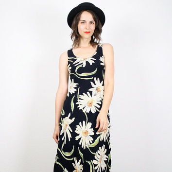 Vintage Daisy Dress Grunge Dress 90s Dress Black Grunge Maxi Dress 1990s 90s Sunflower Dress Floral Print Hippie Dress S Small M Medium