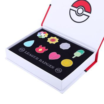 Gen 1 Kanto League Gym Badge Pin Brooch Pip Cosplay Gift Collection SetKawaii Pokemon go  AT_89_9