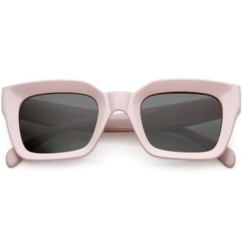Chunky Retro Square Sunglasses Neutral Colored Flat Lens 48mm