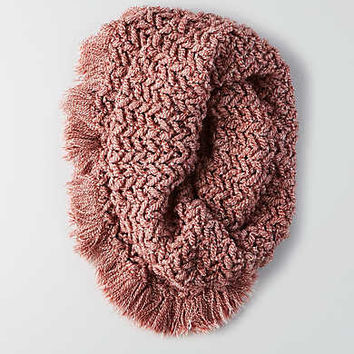 AEO Marled Fringe Snood , Red