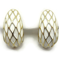 Trifari Earrings - Vintage Gold and Cream Enamel Costume Jewelry Clips